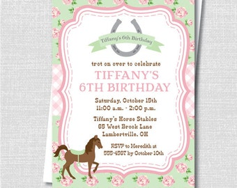 Green and Pink Floral Horse Birthday Party Invitation - Horseback Riding Party - Digital Design or Printed Invitations - FREE SHIPPING