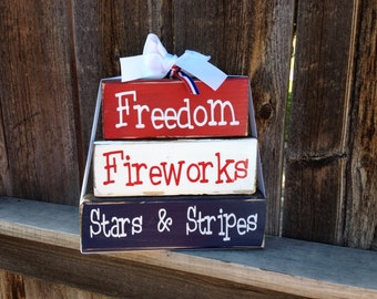4th of July wood blocks-- freedom, fireworks, stars & stripes wood stackers
