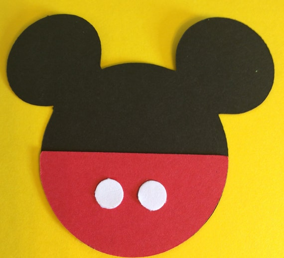 30 3 Mickey Mouse Head Silhouettes Die Cut Black