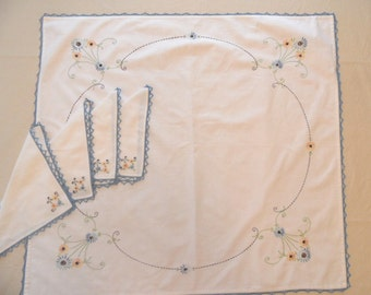 Embroidered and crocheted floral tablecloth & napkin set / card table bridge set / blue and white