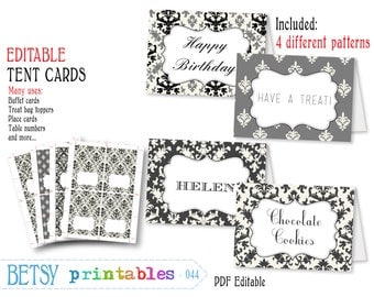 Editable tent cards, printable buffet cards, place cards, name cards, editable, digital cards - INSTANT DOWNLOAD  044