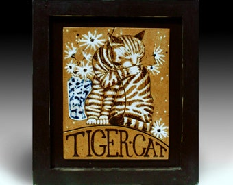 "Tile, Framed Cat Art Tile, ceramic tile, wall art, 16"" x 14.5"" w, handmade tile, room decor, cat art, animal art, one of a kind, tiles."