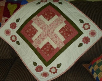 Handmade Quilted Cotton Romantic Table Topper