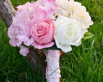 wedding bouquet artificial PU real touch and silk flower rose and hydrangea