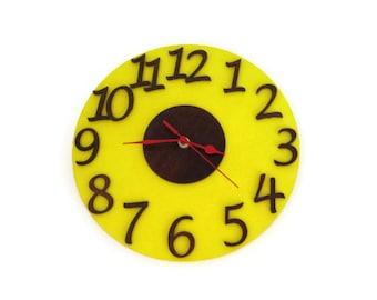 Wall Clock, children room, large wall clock, yellow wall clock
