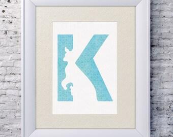 5x7 Alphabet Print 'K is for Kangaroo', Animal Name Art, Kangaroo Print, Baby Alphabet Print