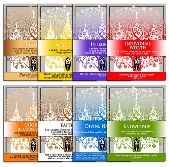 PRINTABLES - All 8 Beautiful LDS Temple Designs - YW Values Personal Progress