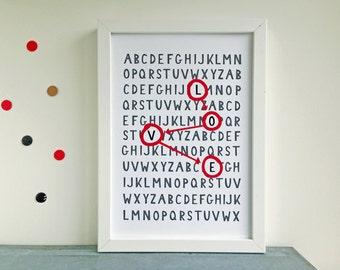 Art print... Love alphabet