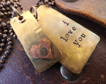 Custom Hand Stamped Necklace...Rustic Brass Dog Tag and Small Brass Tag with Small Copper Heart on Antiqued Brass Ball Chain