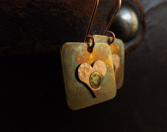Rustic Brass Earrings with Small Copper Heart on Copper Earwires