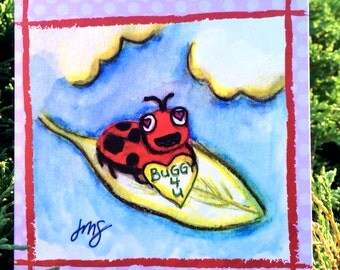 Buggy 4 U - Ladybug/Ladybird Greeting Card, Valentine's Day - Watercolor Illustration