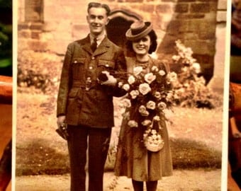 Vintage Postcard Photo of Wartime Bride and Groom