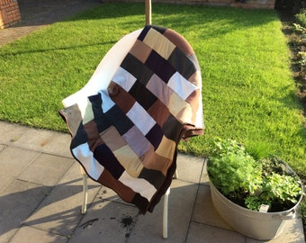Patchwork plaid in brown, grey and green