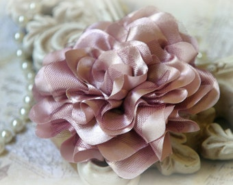 Mauve Satin and Tulle Fabric Flowers, for Headbands, Clothing, Sashes, Altered Art, approx. 4 inches across, EM-014