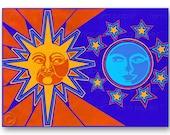 "SUN & MOON - Astrology Card - Birthday - Love - Wedding - Engagement - Anniversary - Valentine - 5""x7""  Collage Art Card (CVAL2013024)"