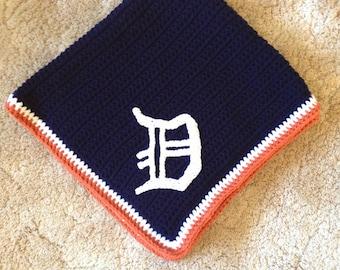 Crocheted Detroit Tigers Baseball Blanket