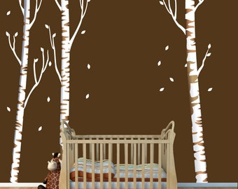 Repositionable Birch Tree Decal, More Realistic, Reusable, White Birch Tree Wall Decals (3 tree/no birds/brown bark) OBT
