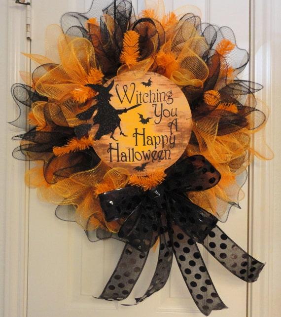 Witching you a Happy Halloween Ruffled Deco Mesh Halloween