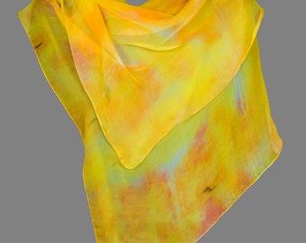 Silk Neck Scarf Orange Sherbet, Pastel Yellow, Bits of Pale Green and Blue Custom Dyed, Lightweight Gauze Silk, Wedding, Elegant, Classic