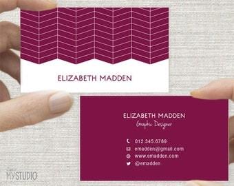 Business Card, Calling Card, Printable Custom Digital Download DIY, Geometric Herringbone Design