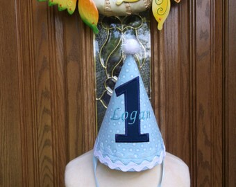 Boys First Birthday Party Hat - Blue With Navy Blue Accents -  Free Personalization -