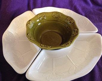 vintage california pottery 259 lazy susan white and avocado set