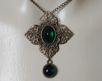 Bronze and green fantasy seampunk pendant necklace