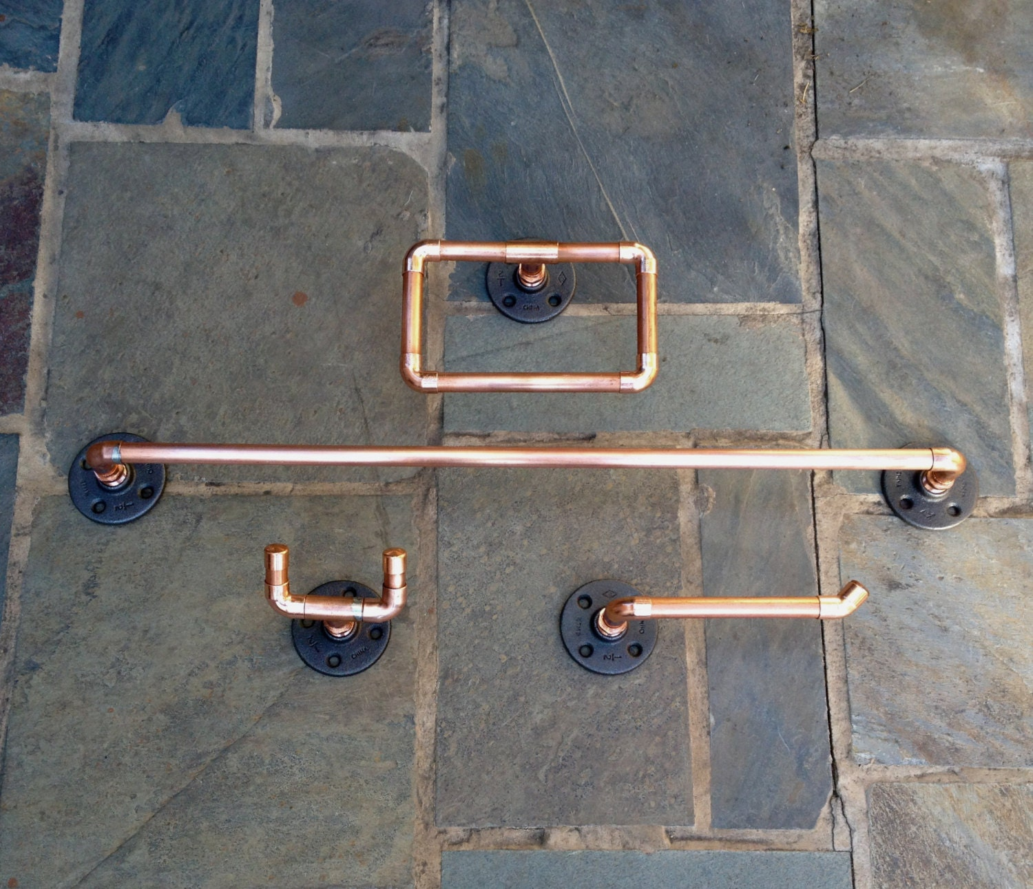 Industrial Design 4 Pc Bathroom Set Copper Pipe By Macandlexie