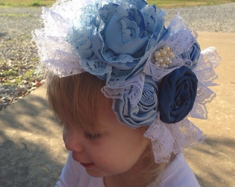 Winter Couture Headband, Blue and White Headband,  Photo Prop, Couture Headband, Over the Top Headband, Infant Headband, Toddler Headband