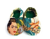 Frida Kahlo Baby Booties in Alexander Henry Fabric