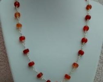 Faceted red agate necklace and earring set