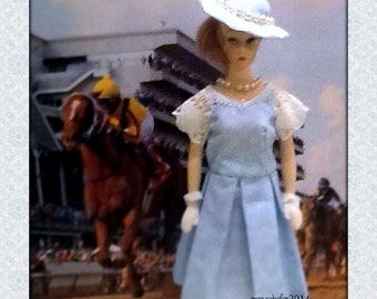 1940's Style Dress and Hat for One Sixth Fashion Dolls