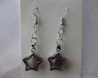 Amethyst Star Stainless Steel Earrings