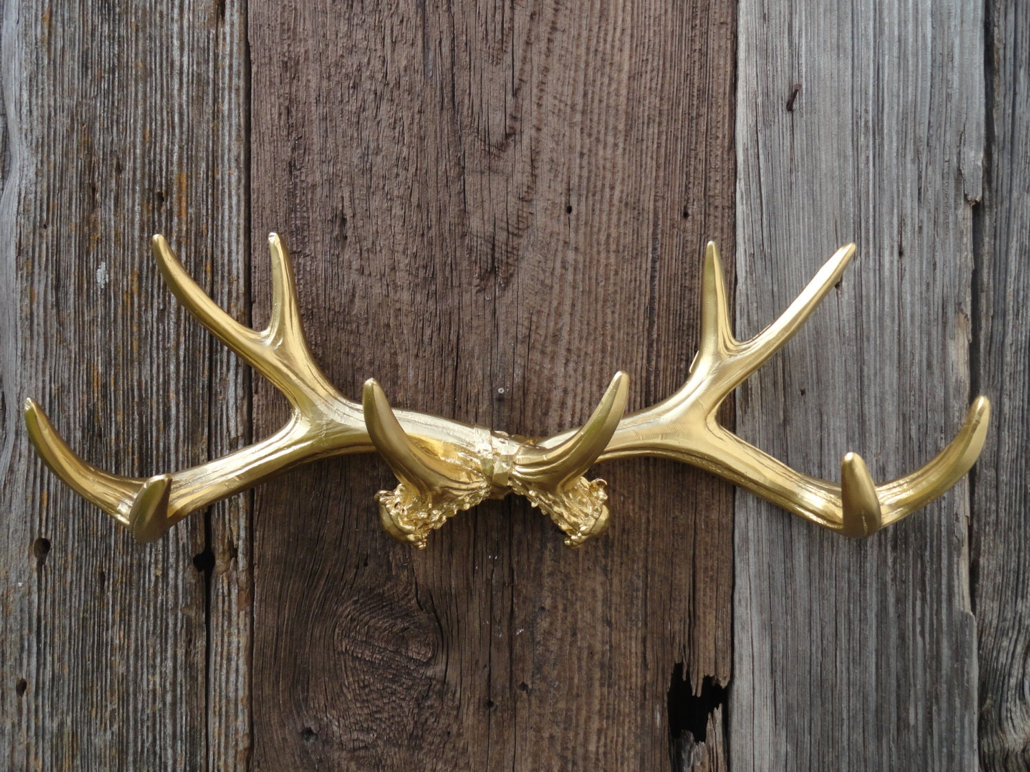 Gold faux deer antler rack wall antlers jewelry hook by for Antler wall decor