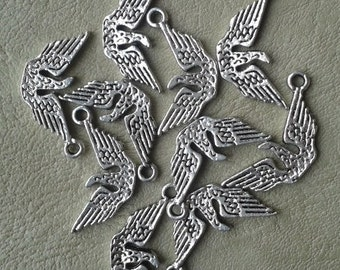 10 Tibetan Silver Wings, Charms, Pendants