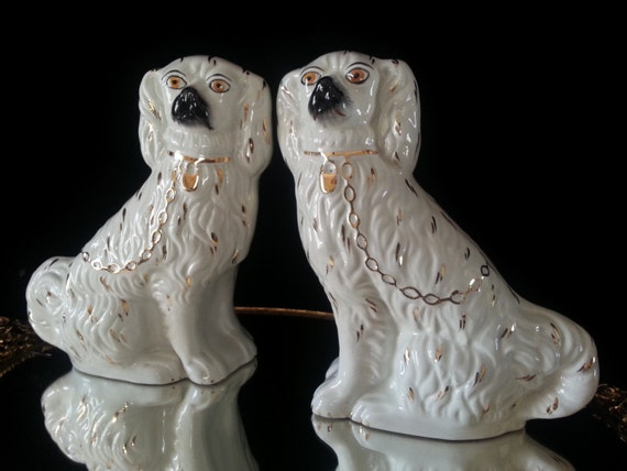 2 Antique English Staffordshire Stoneware Pottery Dogs Set White Earthenware Mantle Dog Pair England