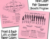 QTY. 50 Large Silhouette Wedding Program - Shimmer White Square - printed on ONE SHEET of cardstock