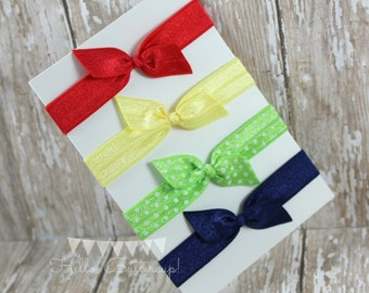 4 No Tug Elastic Hair Ties - Red - Navy - Yellow hairties - Snow White inspired hair tie set