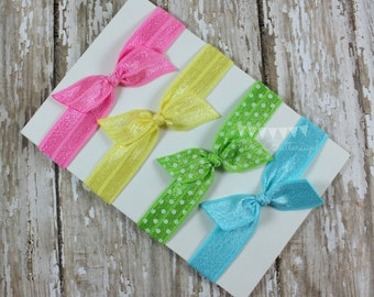 4 No Tug Elastic Hair Ties - Spring Colors Hair Tie Set - Polka Dot Hair Ties
