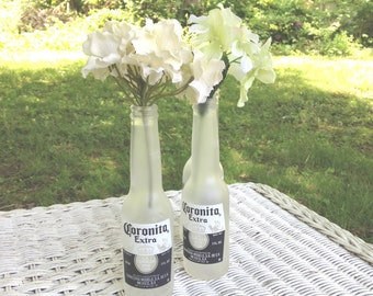 Frosted glass Coronita Extra Beer Bottles mini Corona table flower vase decoration summer party set of 6 Mexican
