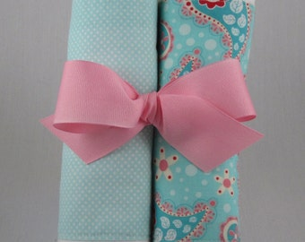 Burp cloth bundle aqua paisley/ aqua dot