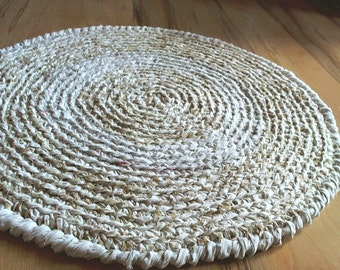 Round Rag Rug 25 Quot Neutral Colors Upcycled Cotton Fabric