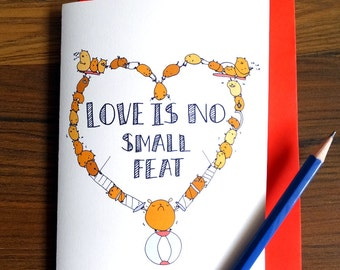 Funny Silly Cute Hamster Love Card - the impossible! Valentines card Valentine card