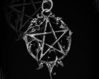 Handmade Pentagram with ivy, Ivynagram, gothic jewelry, victorian jewelry, pagan jewelry, gothic pendant, goth, nature gaia