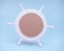 """White Wood & Chrome Deluxe Ship Wheel Mirror 16"""" - Ship Wheel Mirrors / Nautical Mirror / Beach Home Decor"""
