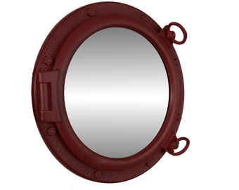 "20"" Dark Red Porthole Mirror Nautical Port holes / boat portholes / ship portholes for sale / beach home decor"