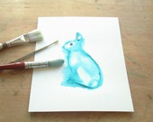 Rabbit watercolor art print  - unframed - baby shower gift for a teal nursery