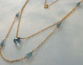 London Blue Topaz Necklace, 14k GF, Natural Topaz Gemstone Necklace, 14k Gold Double Strand Necklace, December Birthstone Necklace