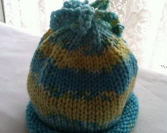 Hand knit baby hat 0-6 months green yellow & white stripe
