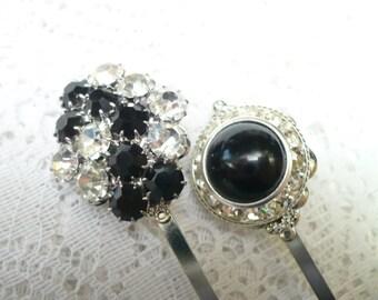 SET of 2 Vintage Bridal or Formal Bobby Pins - Black and Clear RHINESTONES - silver tone- Filigree - Heirloom Bobbies- Keepsake - Bridesmaid